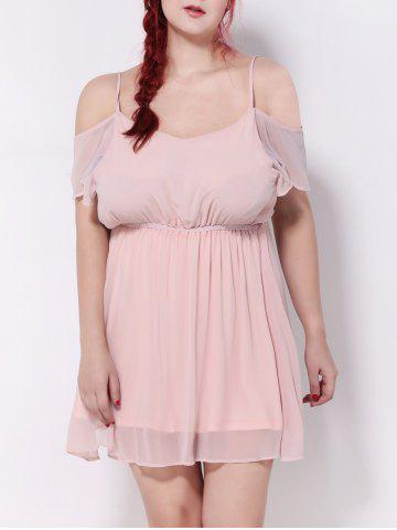 Fashion Cold Shoulder Backless Chiffon Empire Waist Cocktail Dress NUDE PINK 5XL
