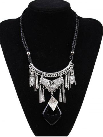 Artificial Leather Braid Geometric Engraved Necklace - Silver And Black