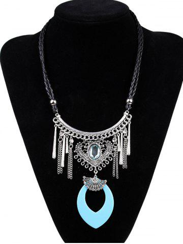Fashion Artificial Leather Braid Heart Engraved Necklace LAKE BLUE