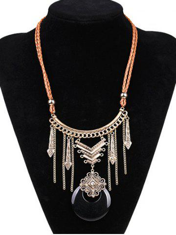 New Artificial Leather Moon Braid Engraved Necklace BLACK/GOLDEN