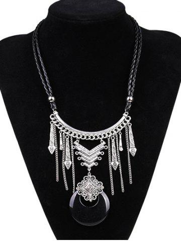 Artificial Leather Moon Braid Engraved Necklace - Silver And Black