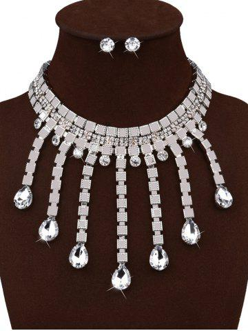Store Rhinestoned Water Drop Choker and Stud Earrings - SILVER  Mobile