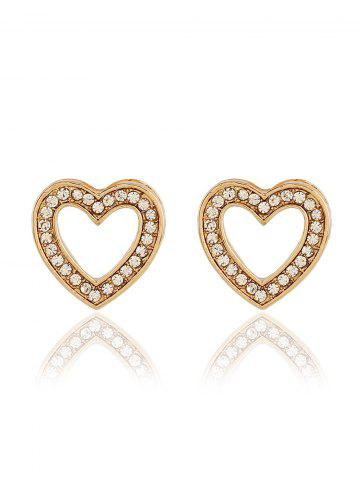 Fashion Rhinestone Heart Necklace Earrings Ring and Bracelet - GOLDEN  Mobile