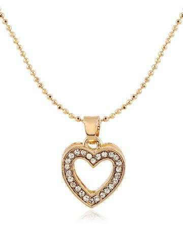 Fancy Rhinestone Heart Necklace Earrings Ring and Bracelet - GOLDEN  Mobile
