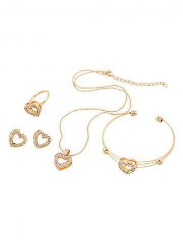Affordable Rhinestone Heart Necklace Earrings Ring and Bracelet - GOLDEN  Mobile