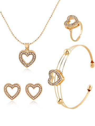 Discount Rhinestone Heart Necklace Earrings Ring and Bracelet - GOLDEN  Mobile