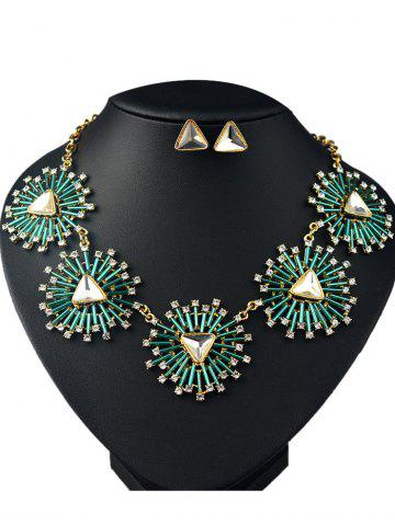 Discount Faux Gemstone Triangle Necklace and Earrings
