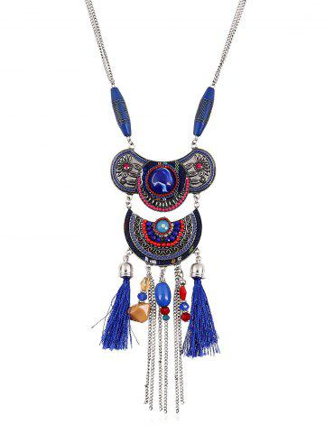 Fashion Artificial Gem Tassel Chains Beads Necklace SAPPHIRE BLUE