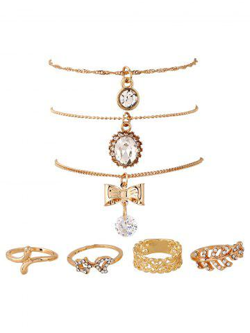 Trendy Rhinestone Bows Necklaces and Rings GOLDEN