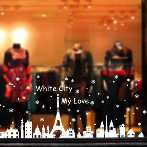 Shops White City Removable Merry Christmas DIY Wall Stickers Showcase Decor
