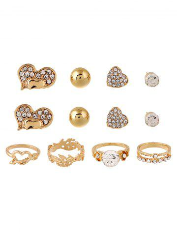 Discount Rhinestone Heart Floral Rings and Earrings