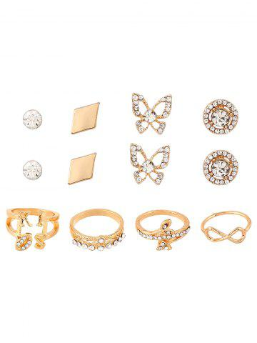 Outfits Rhinestone Infinite Leaves Rings and Earrings GOLDEN ONE-SIZE