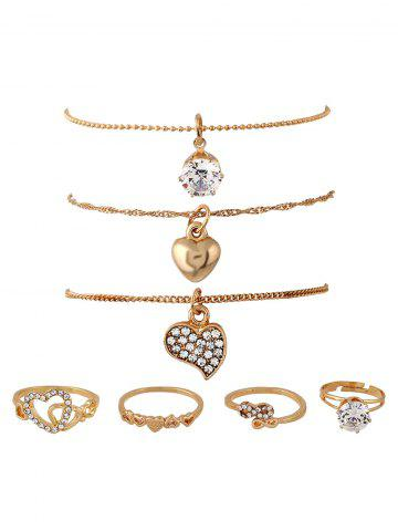 Trendy Rhinestone Infinite Heart Rings and Necklaces