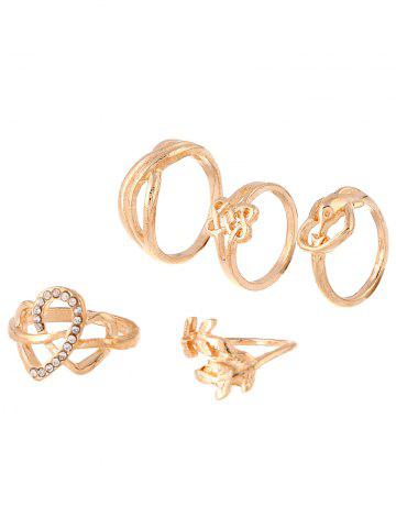 Shop Rhinestone Heart Infinite Ring Set GOLDEN ONE-SIZE