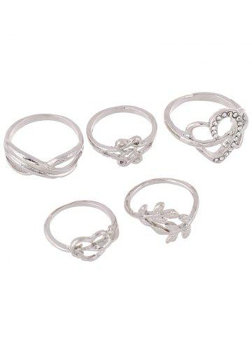 Hot Rhinestone Heart Infinite Ring Set SILVER ONE-SIZE