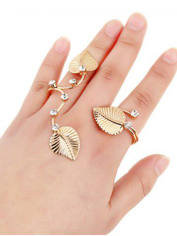 Online Rhinestone Leaves Multi Finger Cuff Ring