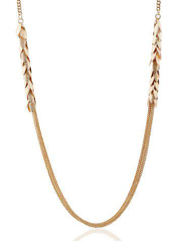 Affordable Multilayered Alloy Leaves Sweater Chain - GOLDEN  Mobile