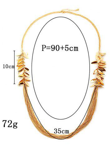 Hot Multilayered Alloy Leaves Sweater Chain - GOLDEN  Mobile