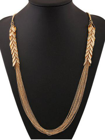 Latest Multilayered Alloy Leaves Sweater Chain - GOLDEN  Mobile