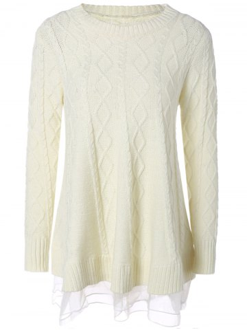 Affordable Cable Knit Pullover Sweater OFF-WHITE 2XL