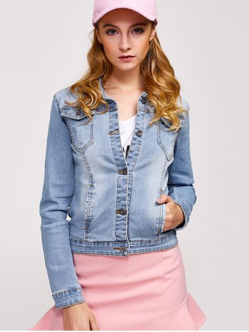 Online Double Button Pockets Denim Jacket