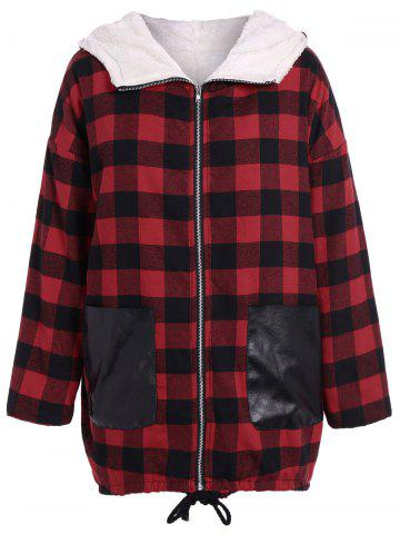 PU-Leather Splicing Hooded Plaid Coat - Checked - Xl