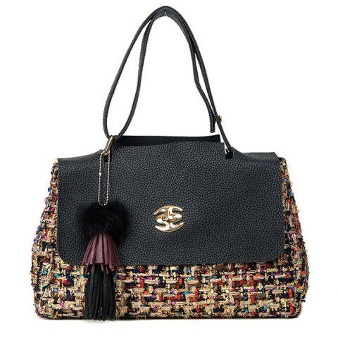 Fashion Tassel Tweed Panel Shoulder Bag