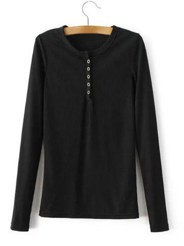 New Long Sleeve Button Knit Tee