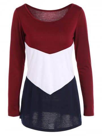 Cheap Long Sleeve Color Block T Shirt WINE RED XL