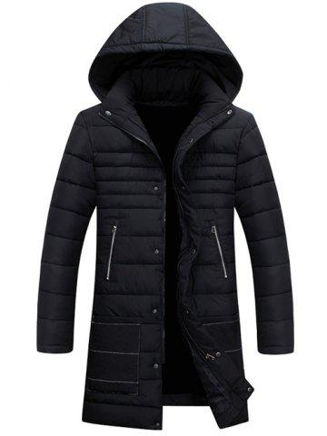 Chic Hooded Zippers Embellished Cotton-Padded Jacket BLACK 3XL