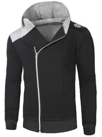 Shop Hooded Rib Splicing Oblique Zip-Up Hoodie BLACK AND GREY L