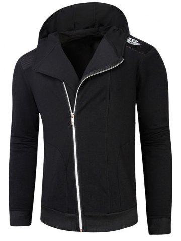Outfit Hooded Rib Splicing Oblique Zip-Up Hoodie BLACK L