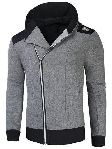 Hot Hooded Rib Splicing Oblique Zip-Up Hoodie - L GRAY Mobile