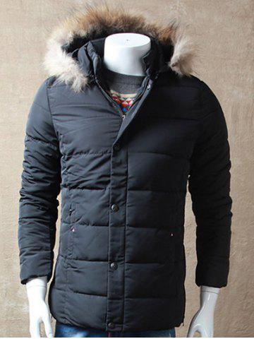Online Zipper Button Padded Jacket with Dismountable Hood