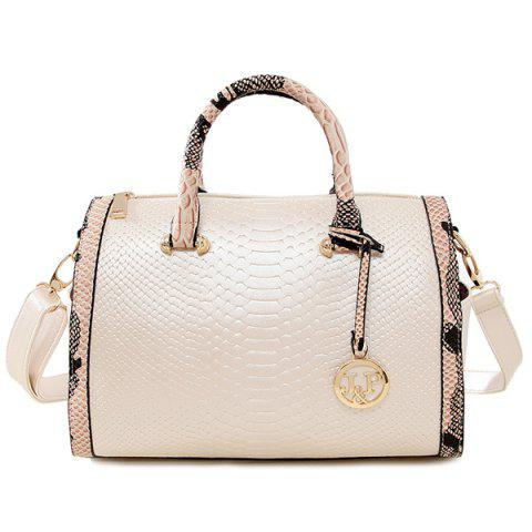 Colour Spliced Embossing Metal Tote Bag - Off-white