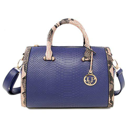 Colour Spliced Embossing Metal Tote Bag - Blue