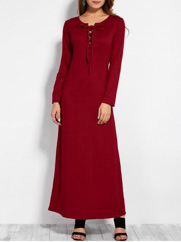 Trendy Plunging Neck Long Sleeve Lace Up Maxi Dress RED L