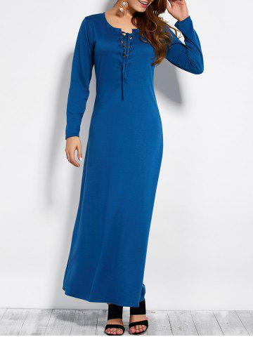 Plunging Neck Long Sleeve Lace Up Maxi Dress - Blue - L
