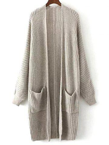 Chic Collarless Double Pockets Knitted Cardigan