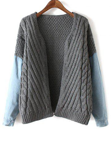 Store Denim Panel Cable Knit Cardigan
