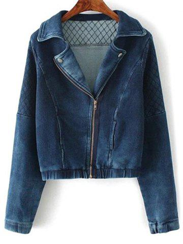 Trendy Lapel Collar Argyle Inclined Zipper Denim Jacket DEEP BLUE L