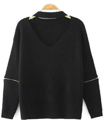 Cut Out V Neck Choker Jumper - Black - One Size