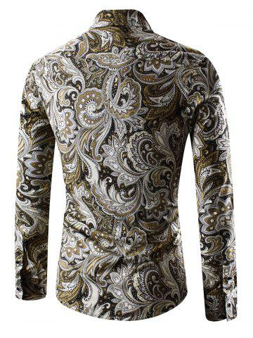 Online Turn-Down Collar Long Sleeve Paisley Shirt - 2XL YELLOW Mobile