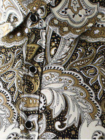 Discount Turn-Down Collar Long Sleeve Paisley Shirt - 2XL YELLOW Mobile