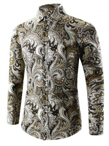 Hot Turn-Down Collar Long Sleeve Paisley Shirt - 2XL YELLOW Mobile