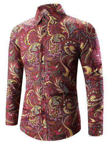 Store Turn-Down Collar Long Sleeve Paisley Shirt DEEP RED 2XL