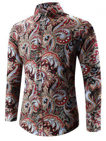 Discount Turn-Down Collar Long Sleeve Paisley Shirt - 3XL RED Mobile