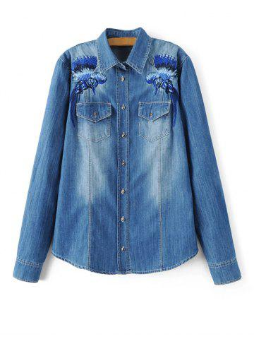 Affordable Embroidered Denim Shirt