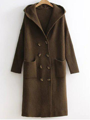Cheap Longline Double Breasted Sweater Coat