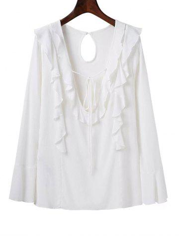Shops Deep V Neck Long Sleeve Frilly Blouse